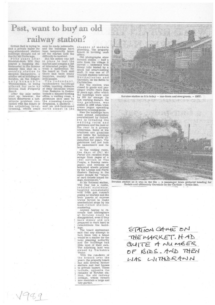 Newspaper article - Psst, want to buy an old railway station?